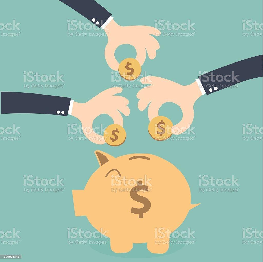 Hands business together  saving money on the piggybank vector art illustration