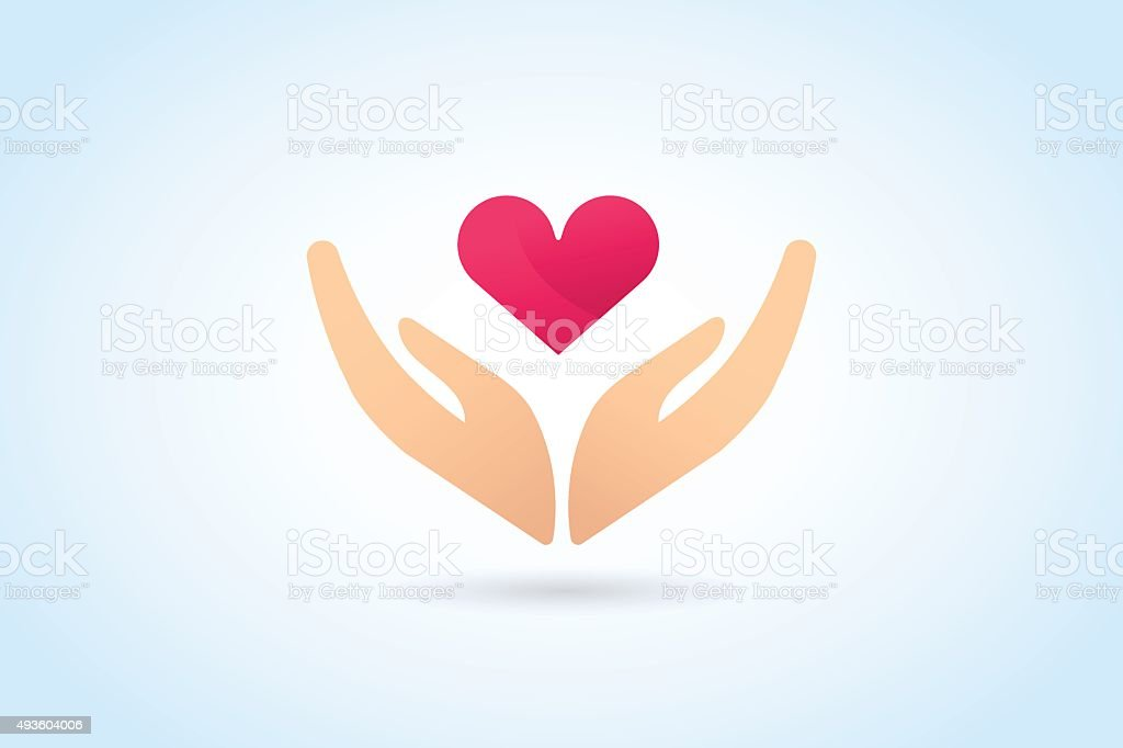 Hands care silhouette icon concept vector art illustration