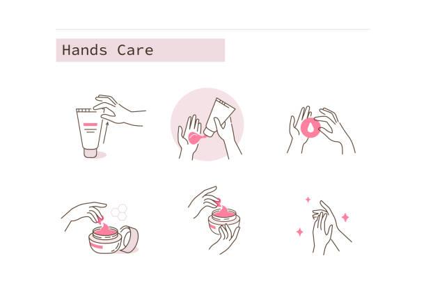 ilustrações, clipart, desenhos animados e ícones de cuidados mãos - hidratante