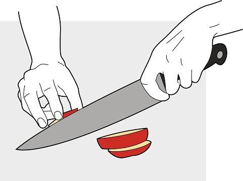 Hands Chopping Potato Line Art