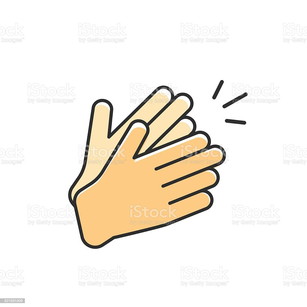 Hands clapping vector icon, applause vector art illustration