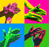 Posterised or Pop Art styled Hands Clapping or applause, key worker, medical workers