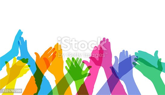 Colourful silhouettes of Hands Clapping or applause, key worker, medical workers
