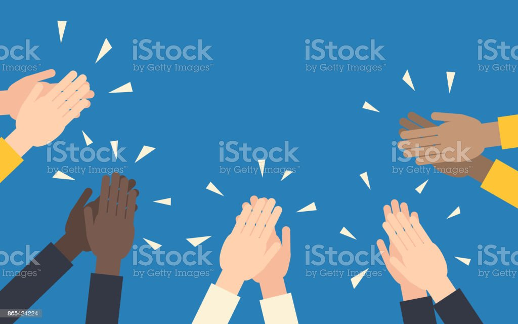 Hands clapping vector art illustration