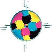 CMYK color hands in digital circle.
