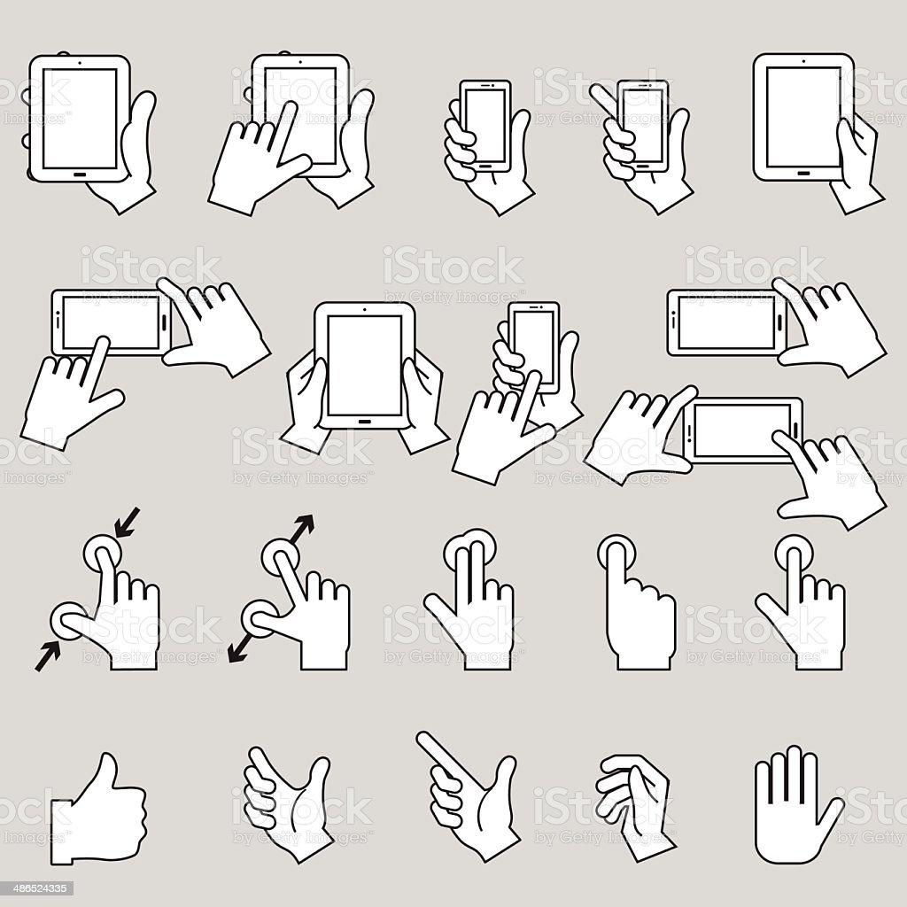 Hands collection tablets and mobile with touch-screen display vector art illustration