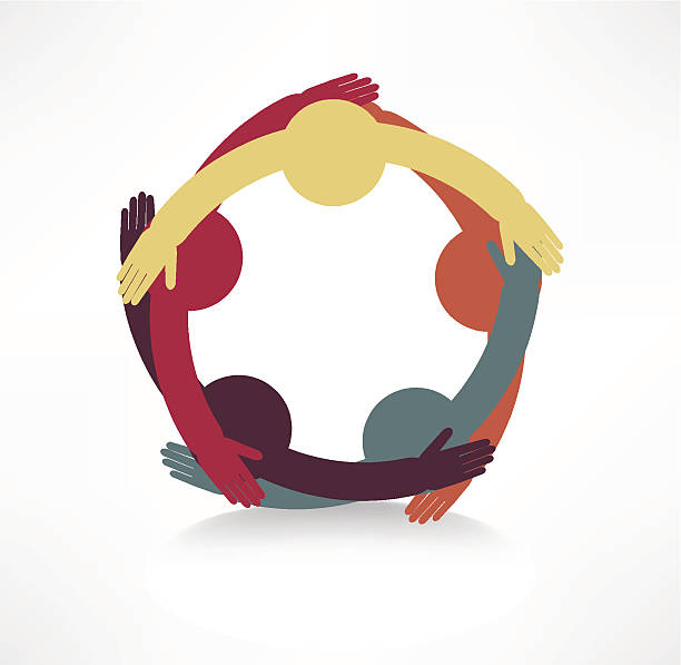 hands connecting icon vector art illustration