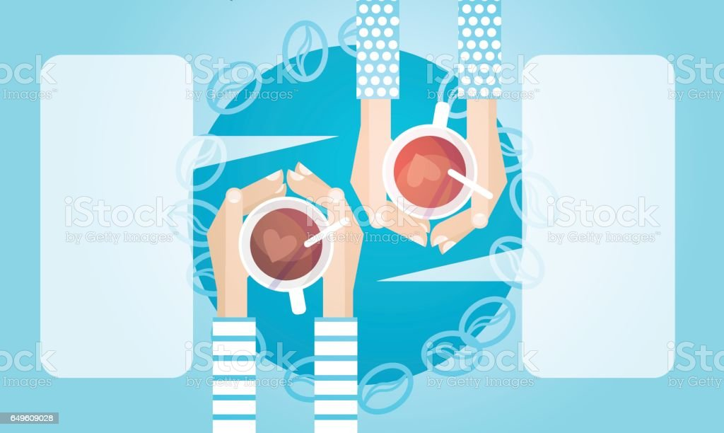 Hands Couple Hold Cup Tea Coffee Break Morning Beverage Banner vector art illustration