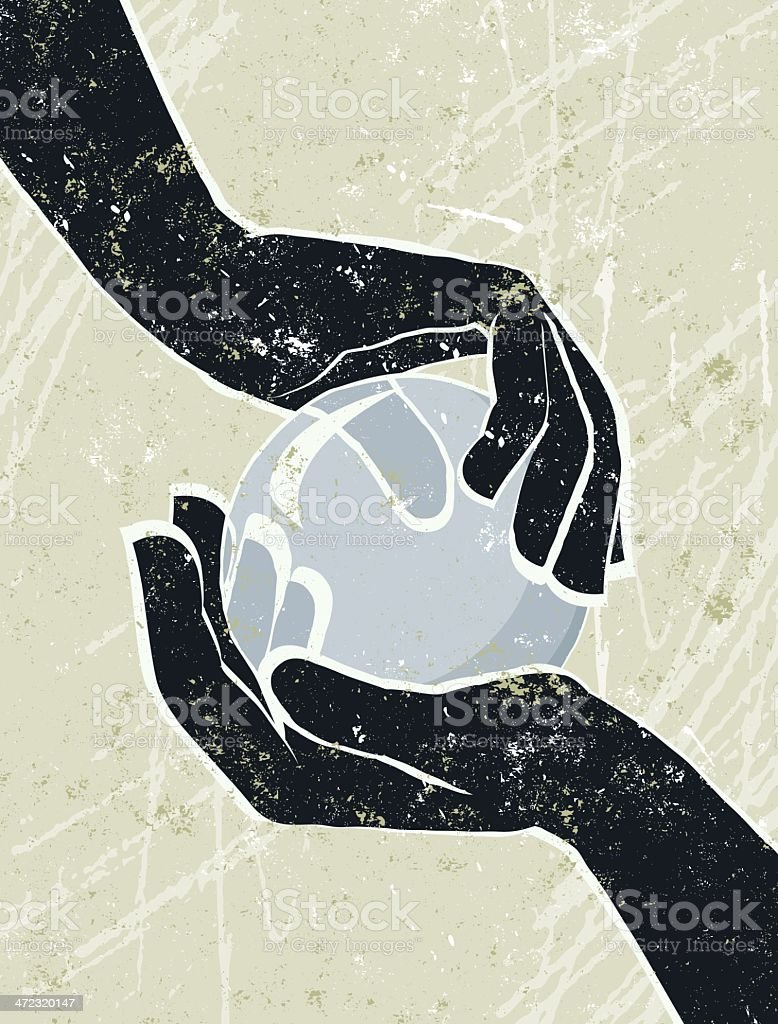 Hand's Cradling a Crystal Ball. royalty-free stock vector art