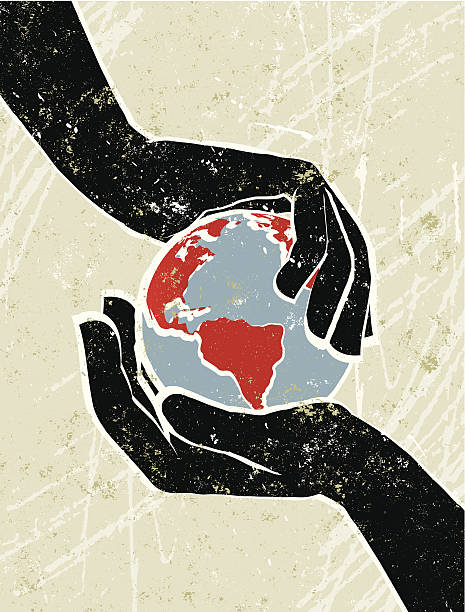 hand's cradling a world map globe - climate change stock illustrations