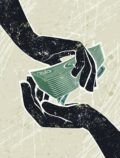 Hand's Cradling Banknotes Cash in Hand! A stylized vector cartoon of hand's cradling a money, reminiscent of an old screen print poster and suggesting, finance, payment, finance, wages, or investment. Notes, both hands, paper texture, and background are on different layers for easy editing. Please note: clipping paths have been used, an eps version is included without the path. passing giving stock illustrations