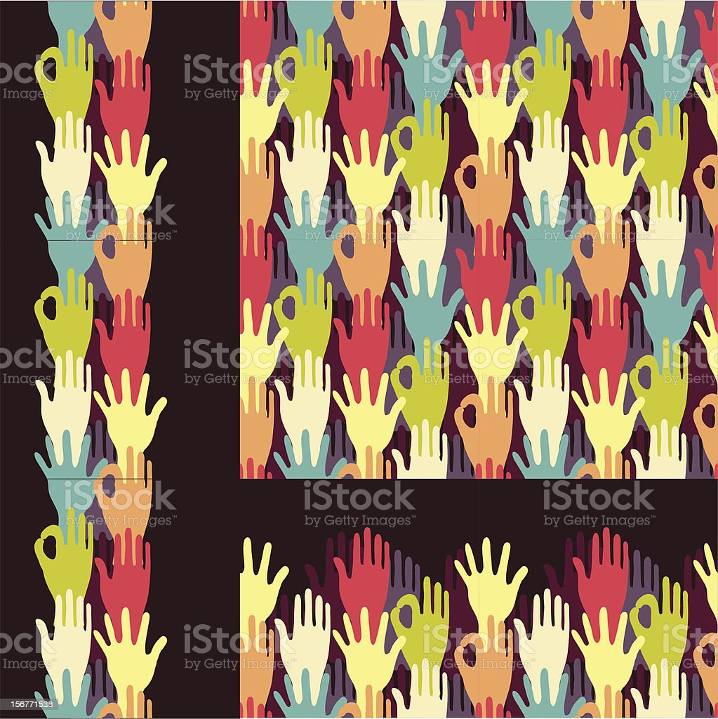 Hands Crowd Seamless Pattern Set royalty-free hands crowd seamless pattern set stock vector art & more images of a helping hand