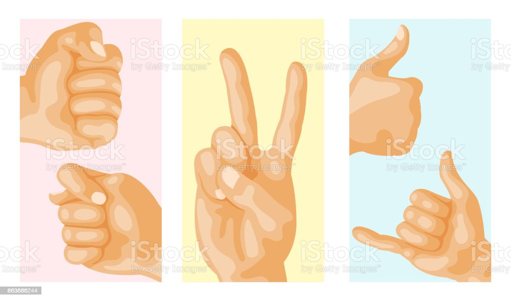 Hands Deafmute Different Gestures Human Layout Card Design Arm
