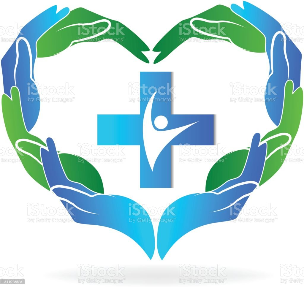hands doing a heart shape with a cross people inside icon concept of