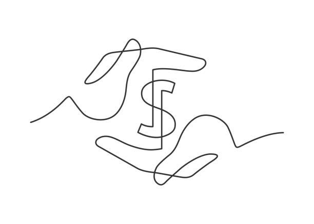 hands dollar one line Continuous line drawing of a dollar sign between two human hands. Vector illustration banking drawings stock illustrations