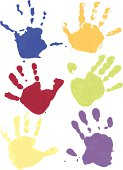 A child's colorful handprints. Each unique with two colors for painterly effect.