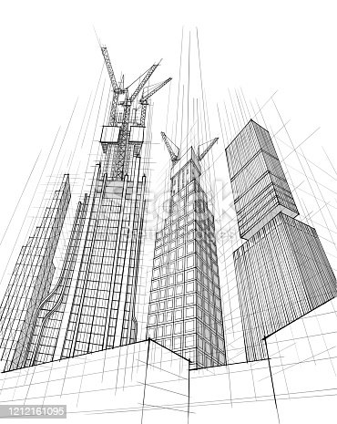 Vector illustration of the architectural design. In the style of drawing. (ai 10 eps with transparency effect)