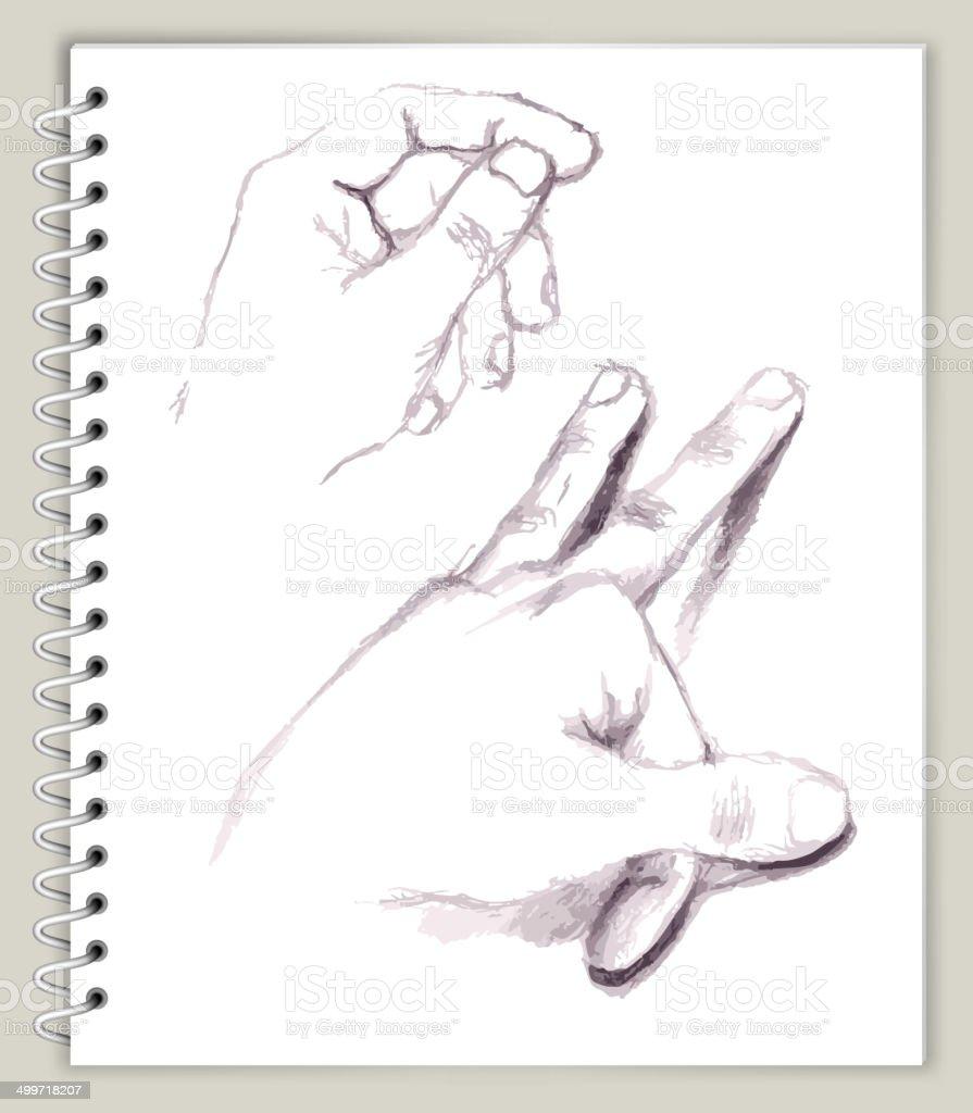 Hands Drawing on Art Sketcbook royalty free vector art royalty-free stock vector art