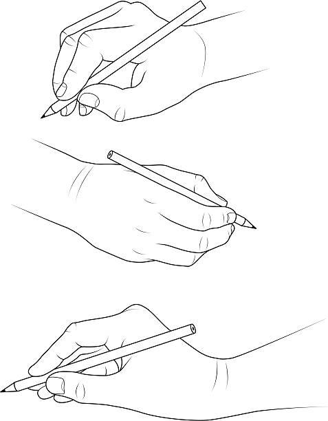 Hands drawing vector art illustration