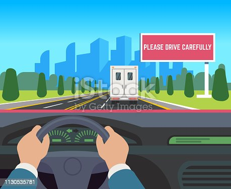 Hands driving car. Auto inside dashboard driver speed road overtaking street traffic travel billboard, flat vector illustration