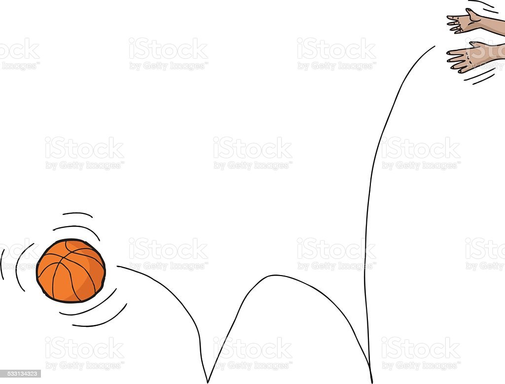 Hands Dropping Basketball vector art illustration