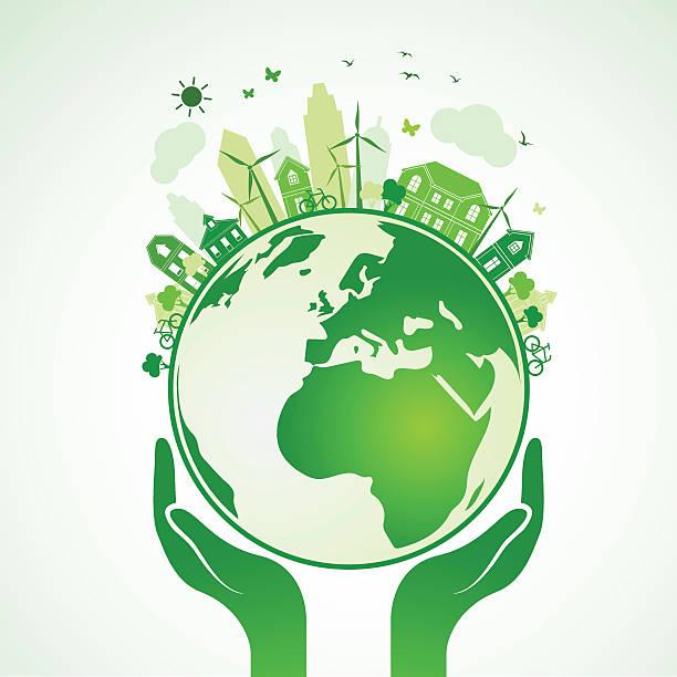 手アース - 環境問題点のイラスト素材/クリップアート素材/マンガ素材/アイコン素材