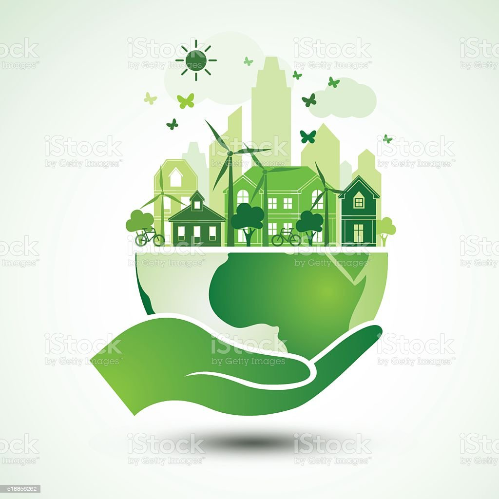 Hands earth vector art illustration