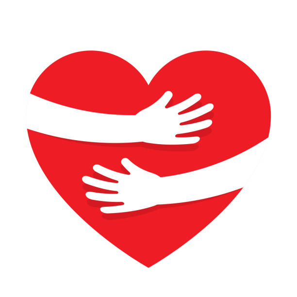 Hands embracing red heart with love Hands embracing red heart with love. Valentine Day. World heart day. Embracing love symbol. Vector illustration hug stock illustrations