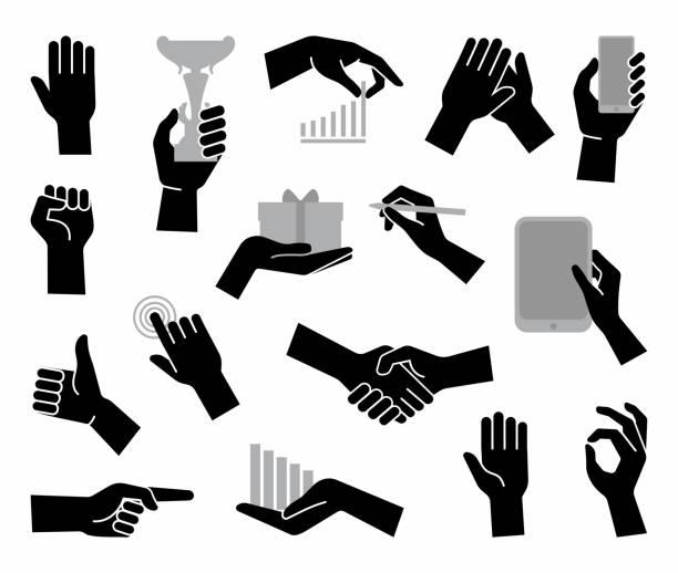 hands. flat business symbol - ręka człowieka stock illustrations