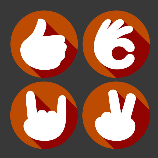 Hands gesture vector icons set vector art illustration