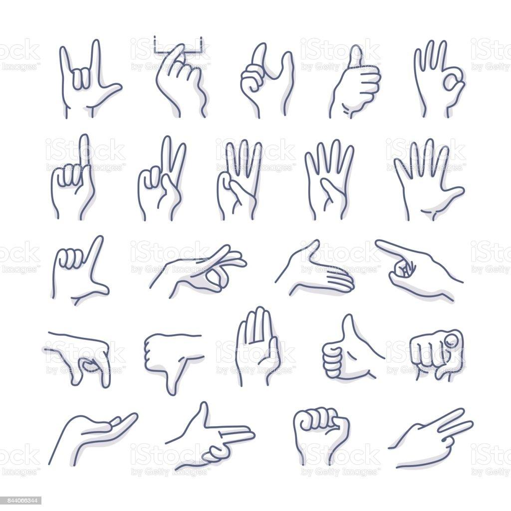 Hands Gestures Doodle Icons - Grafika wektorowa royalty-free (Bazgroły - Rysunek)