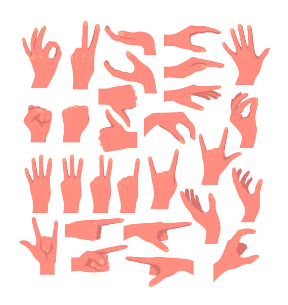 Hands gestures isolated icon set collection concept. Vector flat graphic design cartoon illustration vector art illustration