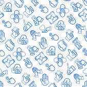 Hands gestures seamless pattern with thin line icons: handshake, easy sign, single tap, 2 finger tap, holding smartphone, teamwork, mutual help, insert credit card, swipe. Modern vector illustration.