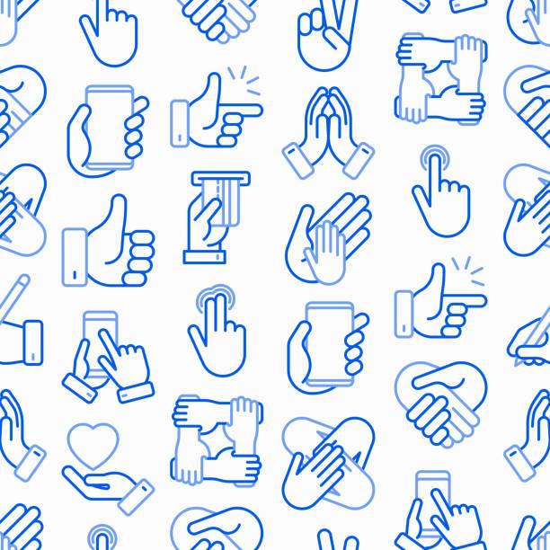illustrazioni stock, clip art, cartoni animati e icone di tendenza di hands gestures seamless pattern with thin line icons set: handshake, easy sign, single tap, 2 finger tap, holding smartphone, teamwork, mutual help, swipe, peace, prayer. modern vector illustration. - facilità