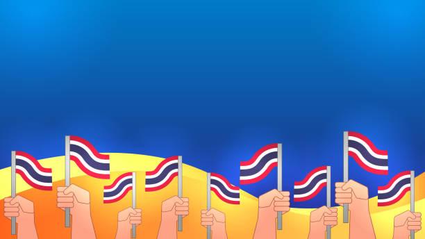 hände bekommen thailändische flagge - ayutthaya stock-grafiken, -clipart, -cartoons und -symbole