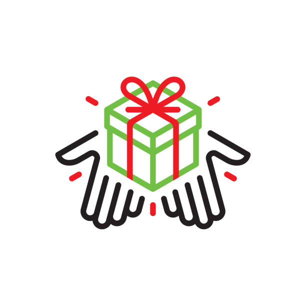 hands giving a gift box - charity and relief work stock illustrations