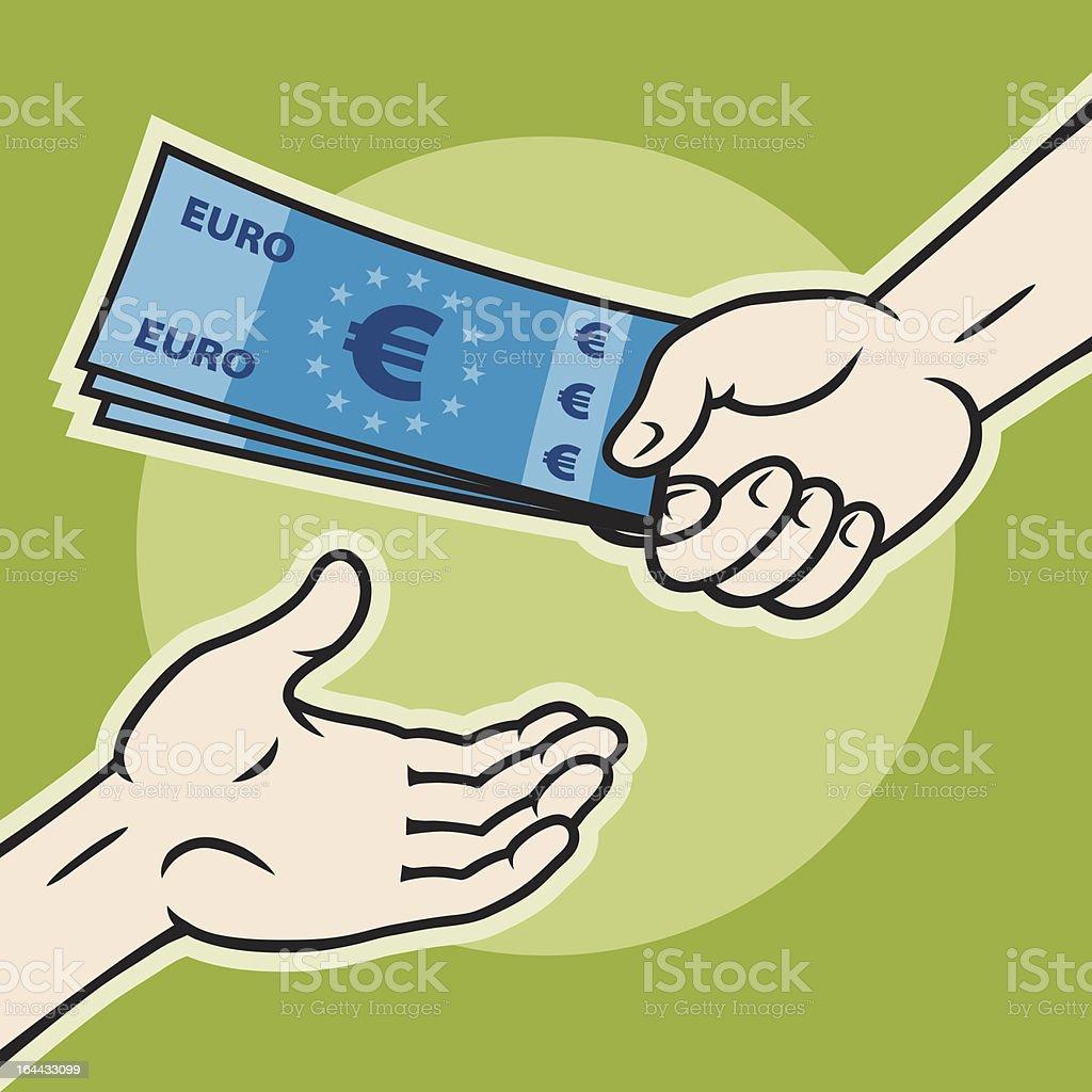 Mains, donner de l'argent et en - Illustration vectorielle