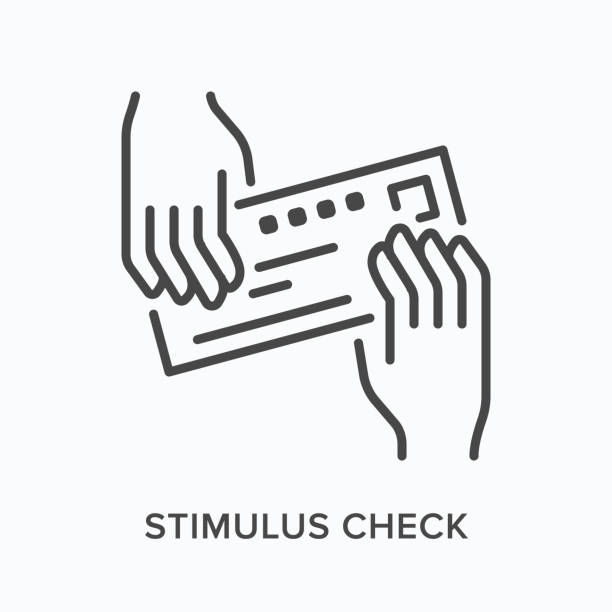 Hands giving bank check flat line icon. Vector outline illustration of payment, voucher. Stimulus cheque thin linear pictogram Hands giving bank check flat line icon. Vector outline illustration of payment, voucher. Stimulus cheque thin linear pictogram. stimulus check stock illustrations