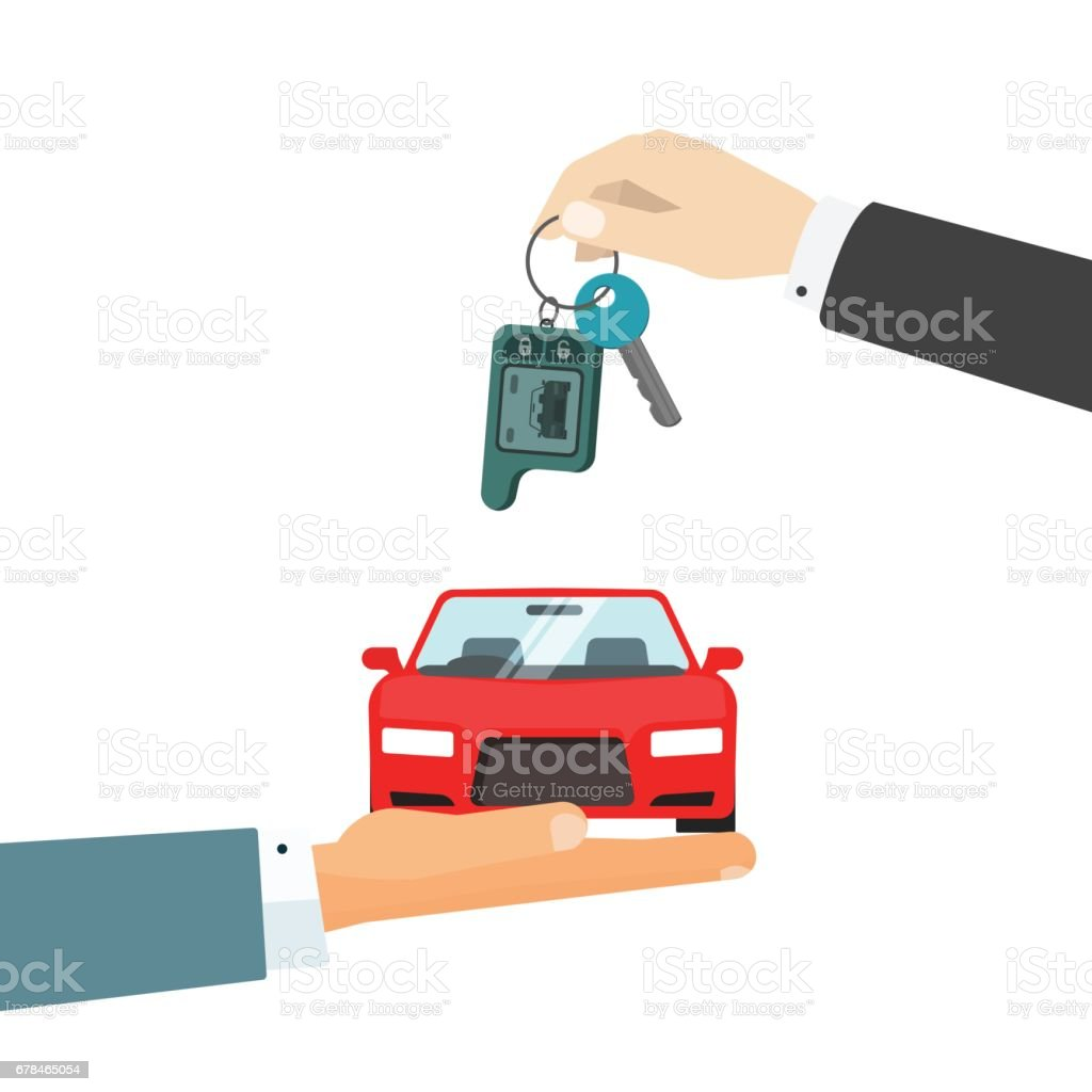 hands giving car and car keys vector illustration idea of automobile