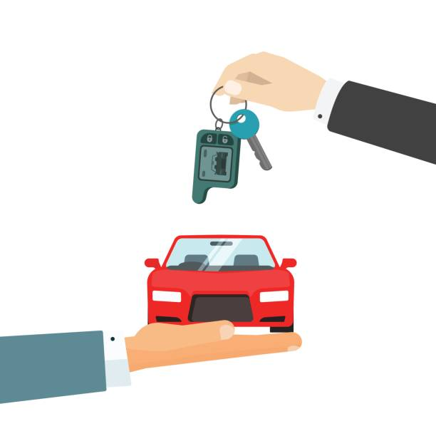 Hands giving car and car keys vector illustration, idea of automobile rent, auto sell flat Hands giving car and car keys vector illustration, idea of automobile rent, auto sell flat cartoon style vector illustration automobile industry stock illustrations