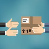 Delivery mans hands giving cardboard package to another hand. Delivery concept. Flat style