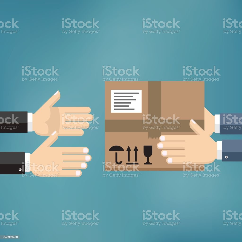Hands giving cardboard package to another hands. vector art illustration