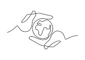 Continuous line drawing of Save the planet. Small globe between two  human hands meaning care and love.  Vector illustration