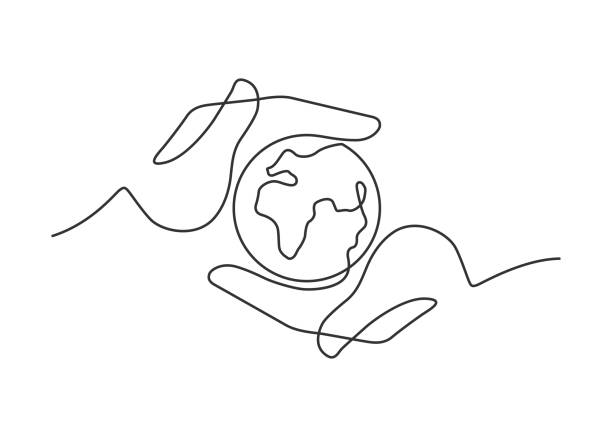 hands globe one line - lineart stock illustrations