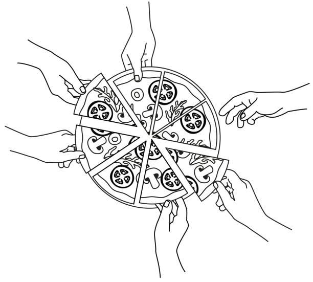hände greifen stück pizza - pizzeria stock-grafiken, -clipart, -cartoons und -symbole