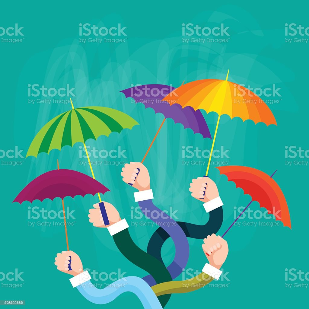 Hands Group Holding Colorful Umbrellas, Support Concept vector art illustration
