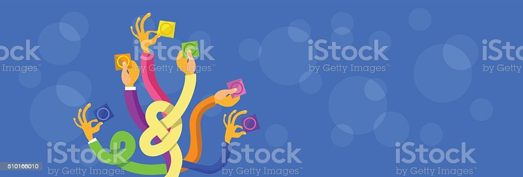 Hands Group Holding Condoms Aids, Contraceptive vector art illustration