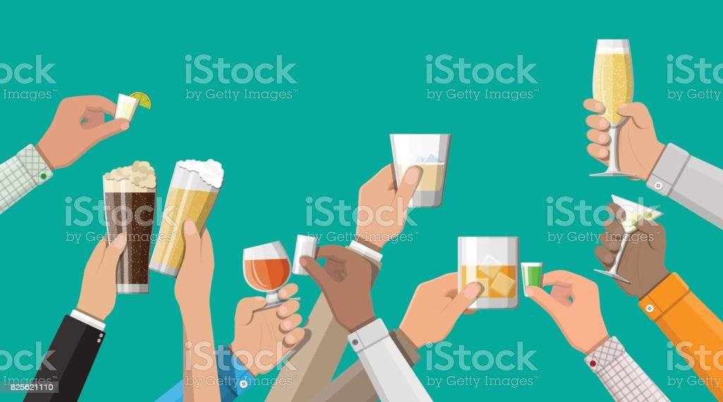 Hands group holding glasses with drinks - illustrazione arte vettoriale