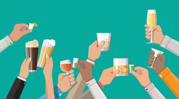 hands group holding glasses with drinks - happy hour stock illustrations, clip art, cartoons, & icons
