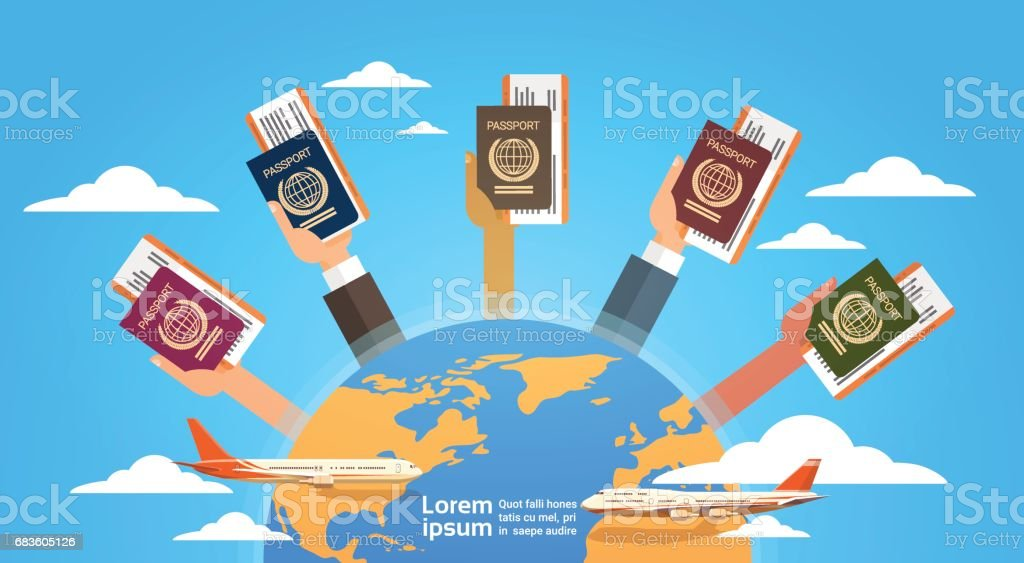 Hands Group Holding Passport Ticket Boarding Pass Travel Document Over World Map Background vector art illustration